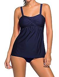 Meijunter Femmes 2PCS Géométrique Impression Tankini avec Triangle Briefs Maillot de bain Sling Bikini Sets Plage Vacances Porter Maillot de bain