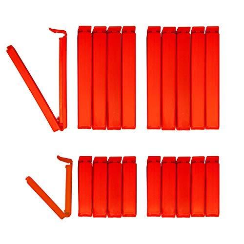 Liebevoll Tütenclips Edition (20 Stück) BUNEO | 20 Verschlussclips: 10 x rot (11 cm) + 10 x rot (6 cm)