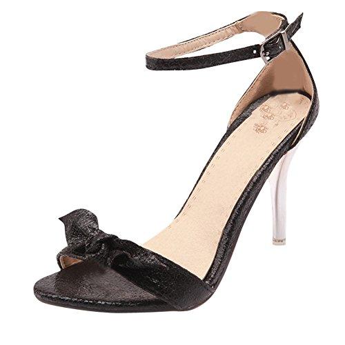 Mee Shoes Damen modern Stiletto ankle-strap Schnalle Knöchelriemchen mit Schleife open-toe Sandaletten Schwarz