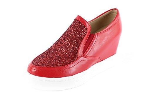 AgooLar Femme Matière Mélangee à Talon Correct Rond Couleur Unie Tire Chaussures Légeres Rouge