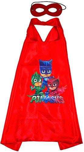 PJ Masks Rot Team - Pyjamahelden Gekko Owlette Catboy Cape und Maske - Superhelden Kostüme für Kinder - Kostüm für Kinder von 3 bis 10 Jahre - für Superheld Mottopartys! Umhänge Spielsachen für Jungen und Mädchen Red - King Mungo - KMSC027 (Rote Superhelden Kostüm)