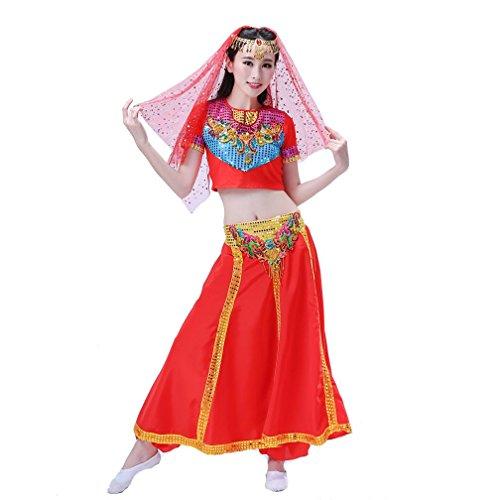 Lob Kostüm Tanz - MoLiYanZi Womens Dancewea Profi Bauch Set Sequin Tanz Rock Bauchtanz Halloween Karneval Kostüm Farbig Schleier + KopfChain + Top + Hose , Red , M