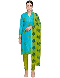 Kanchnar Women'S Blue And Green Brasso Cotton Embroidered Unstitched Dress Material - 731D50014