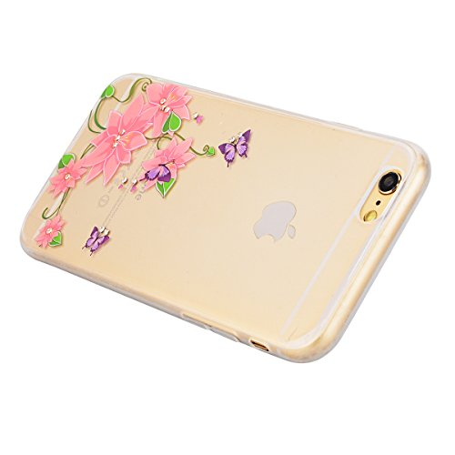 GrandEver iPhone 6S Hülle, iPhone 6 Weiche Silikon Bumper und Hardcase Strass Diamant Hart Backcover Transparent Glitzer Handyhülle mit Blumen Muster Schlank HandyTasche Flexible Bling Schutzhülle Zur Schmetterling und Rosa Blumen