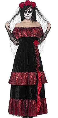 Fancy Me Damen Tag der Toten Braut Skelett Zuckerschädel Halloween Kostüm Kleid Outfit UK 8-22 Übergröße - Schwarz, Mehrfarbig, UK 20-22 (Tote Braut Schwarz Kleid Kostüm)