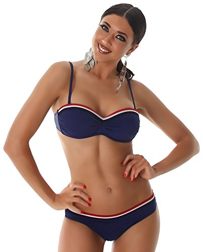 P.F. Damen Bandeau-Träger-Bikini mit Push-Up-Effekt & farbigem Rand Navy
