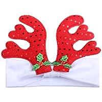 BESTOYARD Baby Girl Bandas de Navidad con Lentejuelas Reno Anlter Accesorios de Bandas de Pelo Infantil de Navidad (Blanco)
