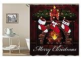 Amody 3D-Digitaldruck Kamin Weihnachten Socken Frohe Weihnachten Duschvorhang Bad Vorhang Durable Wasserdichte Bad Vorhang Bunte Größe 150x200CM
