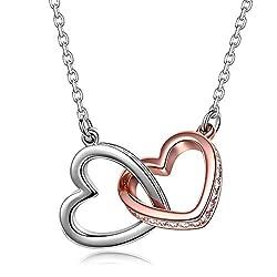 Kami Idea Geschenk zum Valentinstag Kette Damen Halsketten für Frauen Rosegold Silber Herz Anhänger Swarovski Kristall Geschenk für Frauen Schmuck Damen Geburtstagsgeschenk für Frauen Mama Partner