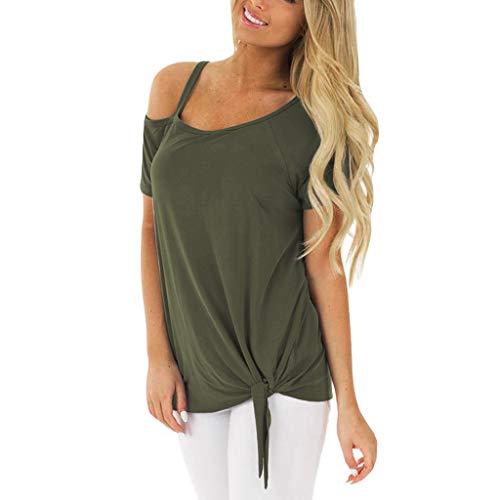 (CAOQAO 2019 Sommer Damen Off Schulter Mode LäSsig TräGerlos Feste Kurze ÄRmel Knoten T-Shirt Top Blusen (S,Armeegrün))