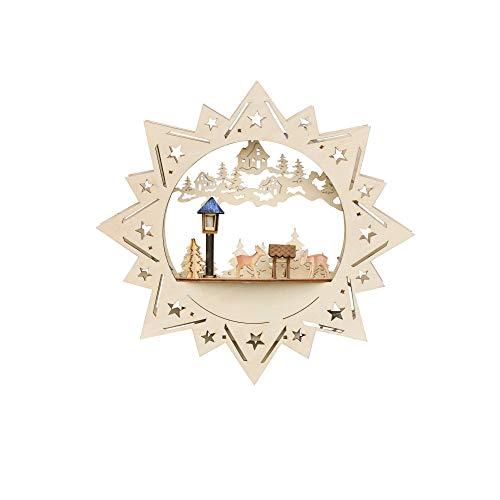 Weihnachtsdeko Fensterbild beleuchteter Stern mit Rehe und Raufe Weihnachtsdekoration aus Holz und LED Beleuchtung EIN schönes Weihnachten