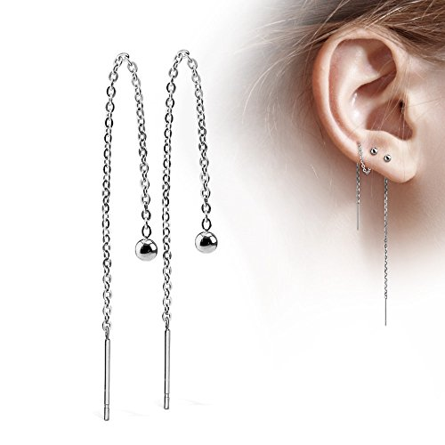 Treuheld | Silberne Ohrstecker mit Kette - Edelstahl Ohr-Ringe in Silber mit Kugel - glänzende Ohrstecker für Damen und Kinder - Sehr elegant - ohne Verschluss