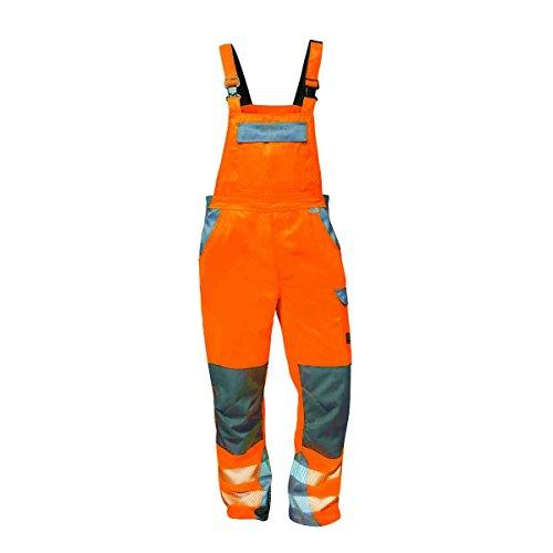 ELYSEE Warnschutz Latzhose COLMAR + METZ, gelb und orange, für Beruf und Freizeit (110, fluoreszierend orange/grau)