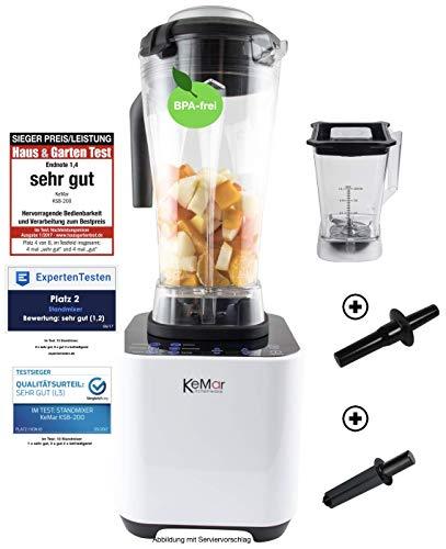 KeMar Kitchenware KSB-200 Hochleistungsmixer, Standmixer, LED Touch Bedienung, 1.500W, 30.000 U/min, inkl. 1 + 2 Liter Behälter BPA-frei, 6 Programme, manuelle Einstellung, Weiß