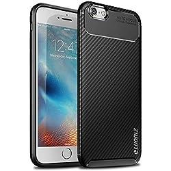 LUORIZ Coque iPhone 6 / 6S Case Premium TPU Silicone Souple Flexible Protection Cover [Texture en Fibre de Carbone Upgrade] Anti-Choc Bumper Étui Housse pour iPhone 6 / 6S (4.7 Pouces)- Noir