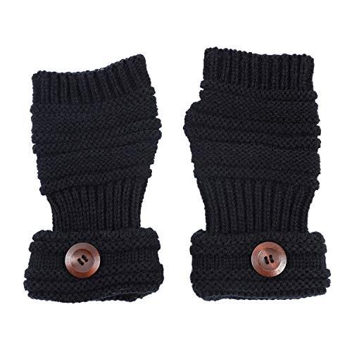 TININNA Winter Warmwer Buttons Gestrickte Fingerlose Armstulpen Strick Handschuhe Pulswärmer Handstulpen Stulpen für Damen Mädchen schwarz