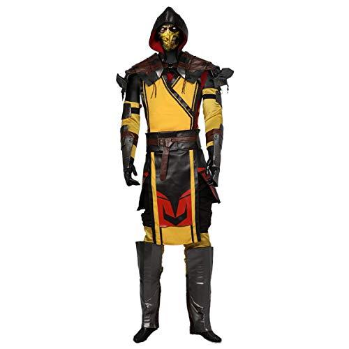 DealTrade Scorpion Kostüm MK11 Cosplay Herren Erwachsene Outfit Spiel PU Leder Anzug Halloween Costume Karneval Kleidung Merchandise Zubehör