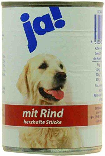 ja! Hundenahrung Rind - Herzhafte Stücke 400g Dose Nassfutter