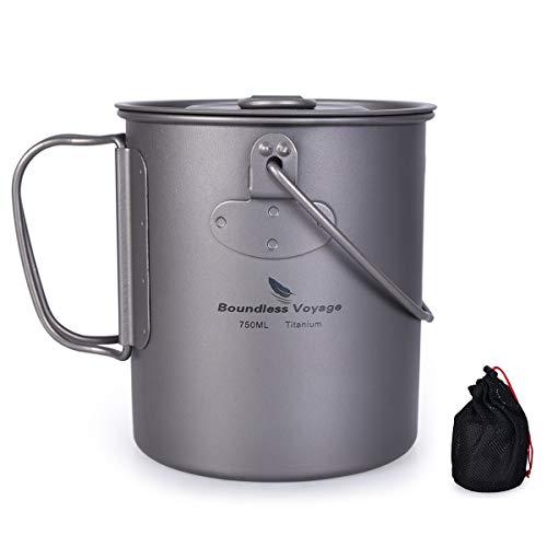 iBasingo Titan Tasse Camping Hängetopf mit Deckel Klappgriff Spork Outdoor Ultraleicht Kaffee Wasser Becher Picknick Kochgeschirr für den täglichen Gebrauch Rucksackreisen 420ml/750ml/900ml/1100ml