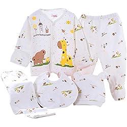 Value Pack Recién Nacido Bebé, LANSKIRT 10PCS Bebé Niña Niño Dibujos Animados Manga Larga Tops + Sombrero + Dos Pantalones + Conjunto de Traje Babero