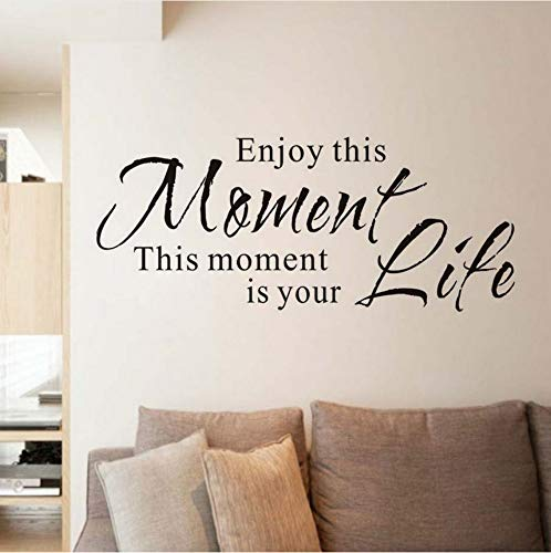 Disfrute de este momento es su vida Frases retro Etiqueta de la pared para la habitación de los niños Vinilo Wallpaper Decal Poster Accesorios de decoración del hogar 57x24 cm