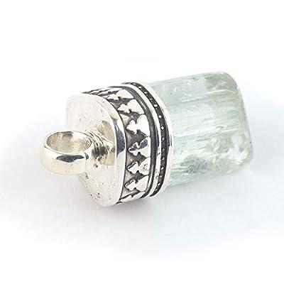 Pendentif de minéral Aigue-marine serti d'argent 925, 17x11x11 mm