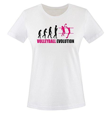 Comedy Shirts - Volleyball Evolution - Donna T-Shirt maglietta - taglia XS-XXL vari colori bianco / nero-fucsia