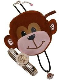 Carvel H210 Girls Monkey Alloy Expander Watch/Necklace/Purse Set
