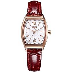ladies waterproof watches/Retro calendar leather strap watch/Leisure quartz watch-H