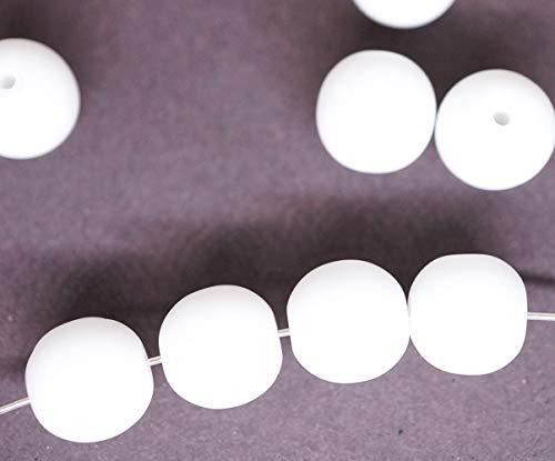 20st Matt Weißen Alabaster Opal Mattiert, Undurchsichtig Runde Druk Spacer Samen Tschechische Glasperlen 8mm -