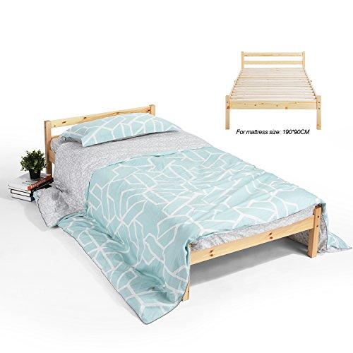 Holz Bett ihouse natur stabiles Einzelbett Kiefer massiv Holz Rahmen beech (Kinder-einzelbett-rahmen Für Mädchen)