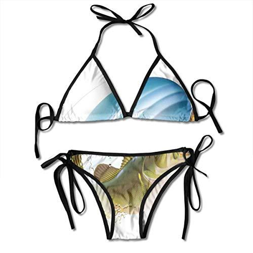 8b3a1dae991b Adjustable Bikini Set Halter Ladies Swimming Costume, Largemouth Sea Bass  Catching A Bite In Water