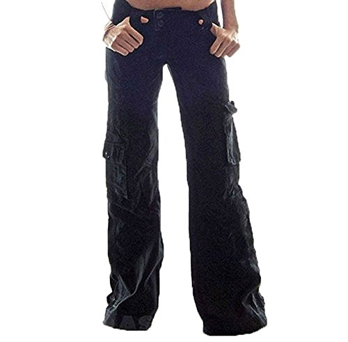 Hellomiko Pantalones Cargo Mujer - Multifunciones Pantalones Combat Cargo Pantalones Acampanados Cómodos Pantalones Trekking al Aire Libre Camping Pantalones Montañismo S-5XL