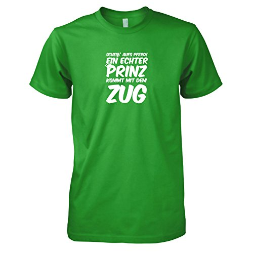 Prinz kommt mit dem Zug - Herren T-Shirt, Größe XL, grün (Nerd Kostüm Mit Hut)