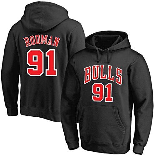 LSJ-ZZ Männer Basketball-Hoodie NBA Chicago Bulls # 91 Rodman mit Kapuze Printed Top Sweatshirt, Klassische mit Kapuze Jersey lose beiläufige Lange Hülsen-Pullover,Schwarz,M(165~170CM)