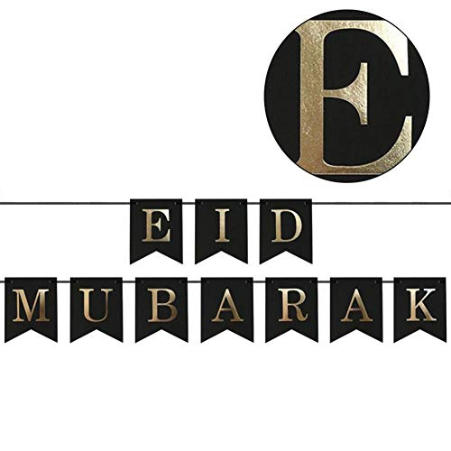 Lucky-all star EID Mubarak Goldenes Alphabet Bunting Dekoration - Festliche Home Decor Banner für den Islam Happy Eid Mubarak Wimpel, Banner Happy Party Supplies