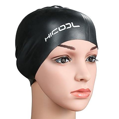 Bonnet de bain, Hicool série haute qualité Pureté oreille étanche Manchons Bonnet de bain silicone pour hommes et femmes (Noir)