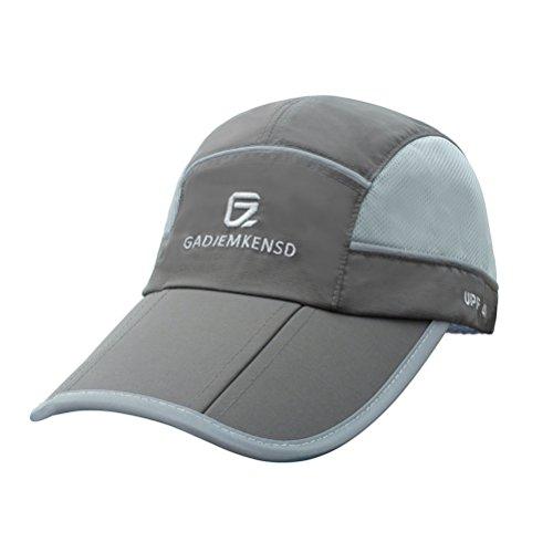 GADIEMENSS Sport Cap Faltbarer Hut mit Reflexion Wasserabstoßung Funktion und Mesh Race Geeignet für Laufen Outdoor-Aktivität (Dunkelgrau) (Womens Black Bull)