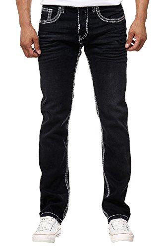 Rusty Neal Straight Cut Herren Jeans Kontrast Doppel Weiß Dicke Naht Herren-Hose 7444-7, Modell:7444-7;Hosengröße:W32/L32