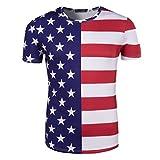 YuanDian 2018 Football Coupe du Monde Fans T-Shirt Homme Femme Ventilateurs 3D Impression de Drapeau National Manche Courte France Foot Ete Tee Shirts Chemise USA 3# L