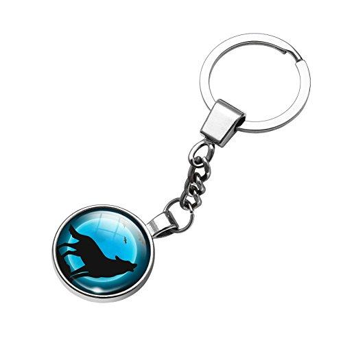 Jiayiqi 1 Stück Blau Wolf Tür Auto Schlüsselanhänger Kette Großhandel Schmuck