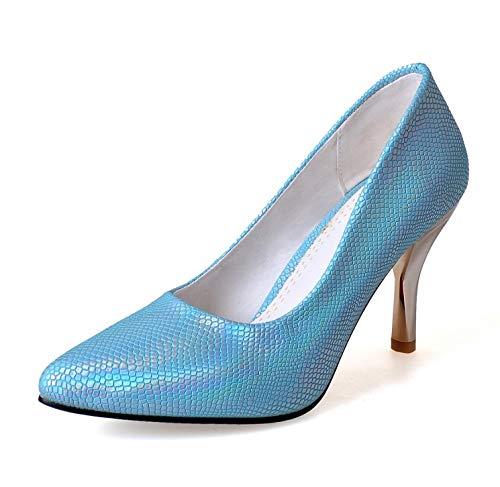 MENGLTX High Heels Sandalen 2019 Neue Große Größe 32-47 Schuhe Frau Hochzeit Damen High Heel Schuhe Mode Süßes Kleid Spitz Frauen Party Pumps T529 11 Blau (Frauen Kleid Schuhe Größe 11)
