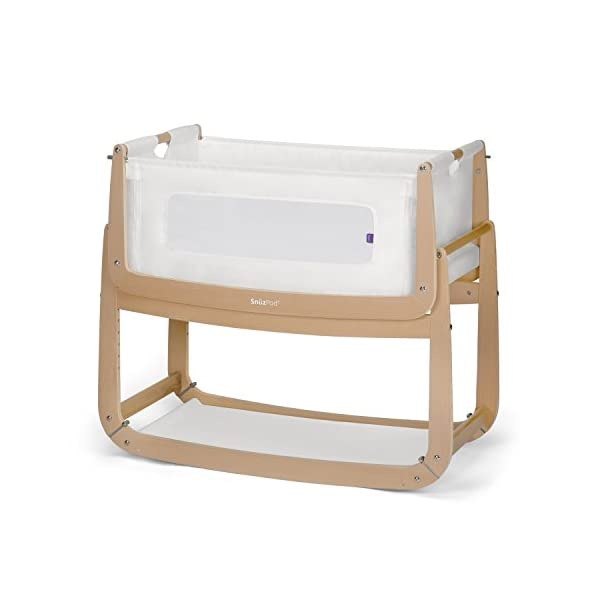 SnuzPod 3 Bedside Crib - Natural Snuz SnuzPod 3 has added functionality, a lighter bassinet and a more breathable sleeping environment. More than just a bedside crib; use as a bedside crib, stand alone crib or moses basket/bassinet. Simply attach the crib to your bed using straps provided (fits frame and divan beds) and your ready use as a bedside crib. The 9 different height settings allow you to ensure the crib is the right height for your bed (31-63cm) New! SnuzPod 3 now comes with an optional reflux function, by tilting the crib and setting an incline to reduce reflux symptoms little one can get a better nights sleep. 9