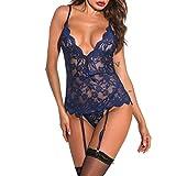 Reasoncool Damen Dessous Transparente Spitze Unterwäsche Verstellbaren Trägern Bodysuit V-Ausschnitt Nachtwäsche Strumpfband Sexy Erotic Reizwäsche