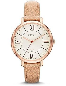 Fossil Damen-Armbanduhr Jacqueline Analog Quarz One Size, creme, beige/creme/rosé