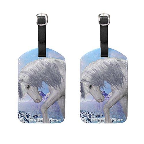 COOSUN Einhorn und Blue Bell Blumen Kofferanhänger Reise Labels Tag-Namenskartenhalter für Gepäck Koffer Tasche Rucksäcke, 2 PCS Mittel mehrfarbig