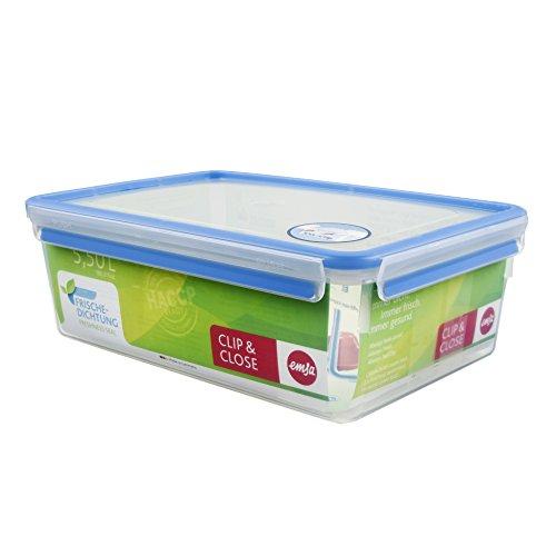 Gummi-laptop-tasche (Emsa 508547 Rechteckige Frischhaltedose mit Deckel, 5.5 Liter, Transparent/Blau, Clip & Close)