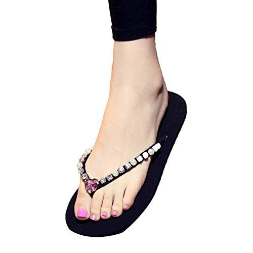YOUJIA Femmes / Filles été Chaussures de plage Casual Tongs Sandales Ornementé #3 Pink