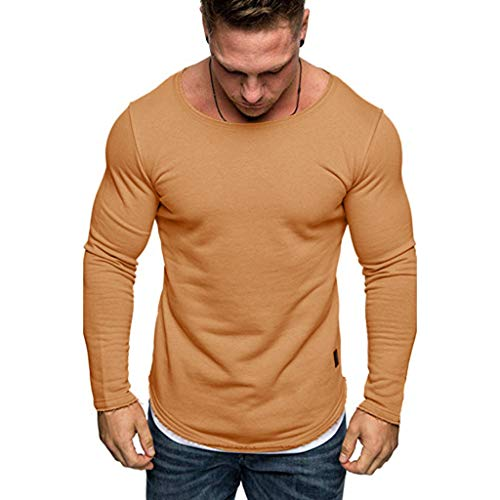 Top Herren Bluse, HULKY Männer Pullover Langarm Casual Sweatshirt Einfarbig T-Shirt Stretch Schlanke Trainingsanzüge(Kaffee,M)
