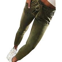 25acdf7a9890 ITISME Jeanshosen Femmes Automne et Hiver Taille Élastique Pantalon  Décontracté Taille Haute Jeans Casual Bleu Denim
